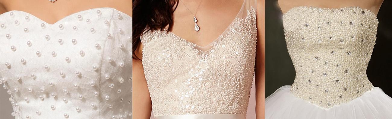 فستان زفاف من اللؤلؤ