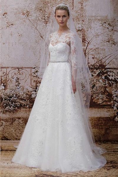 a6c6ef901 فساتين زفاف دانتيل وشيفون كم طويل